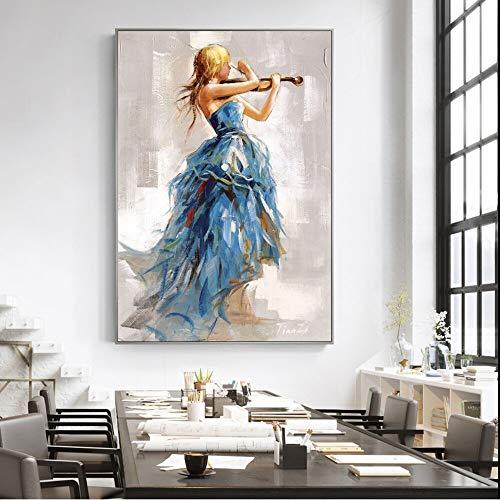 wZUN Chica Tocando el violín en Lienzo Pintura Carteles e Impresiones Bailarina Chicas Cuadros de Arte de Pared para decoración del hogar 60X90 Sin Marco