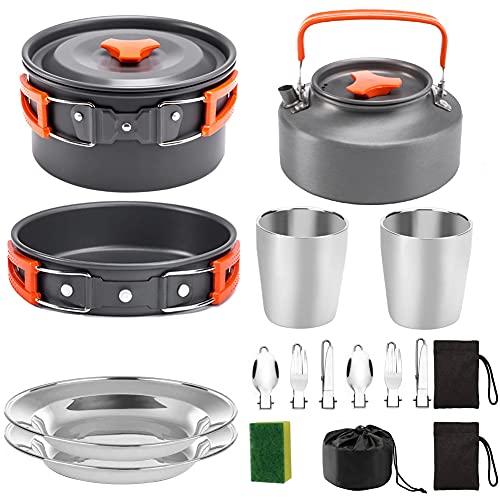 Camping Kit De Utensilios De Cocina Pot Bandeja De Estufa Set De Hervidor De Acero Inoxidable Productos para Cocinar Al Aire Libre Y Picnic Naranja