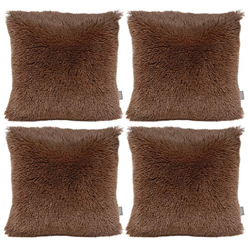 Sea Soft Lion Velvet Throw Pillow Case Cushion Cover Fashion Home Decorative Pillowcase (4-pack) (Brown)