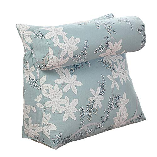 ZWW Wedge Backrest Pillows, Canvas Floral Triangular Reading Pillow with Adjustable Neck Roll Pillow | Adult Couch Lumbar Supporting Pad Lounge Cushion