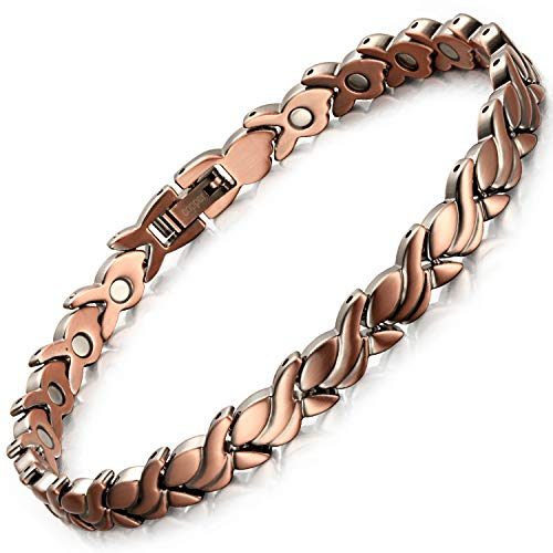 RainSo Womens Pure Copper Magnetic Therapy Bracelets for Arthritis Wristband with 3 Smarter Buckle Adjustable
