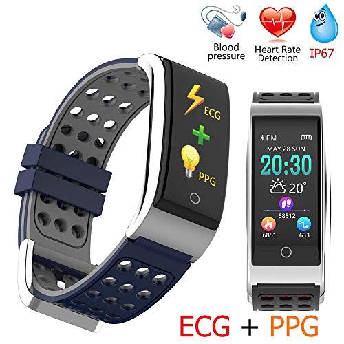 Mengen88 Smart Motion Armband, 0,96 inch TFT-kleurenscherm, fitnesstracker met bloeddruk- hartslagmeter en oproepherkenning voor het schudden van een foto