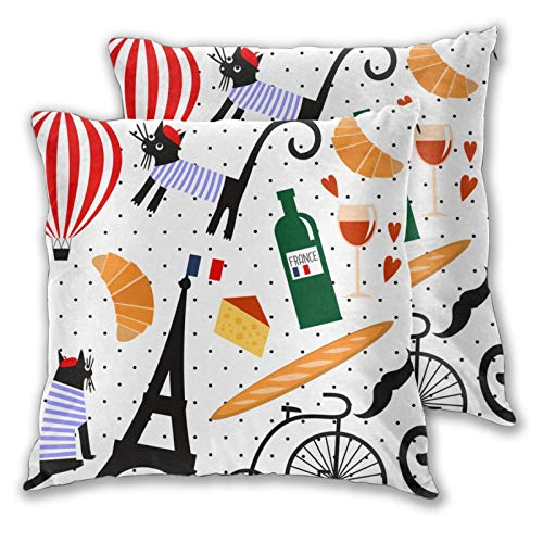 ZELXXXDA Throw Pillow Covers,Set of 2,Funny Paris Wine Eiffel Tower Baguette RetroDecorative Square Cushion Case for Sofa Couch Bedroom Car 16'x 16'