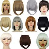 FUT 8'(20cm) Hair Synthetic Hairpieces False Clip in Bangs Fringe Front Neat Bang Extensions Forehead Bang Hair Extensions(Ash Blonde)