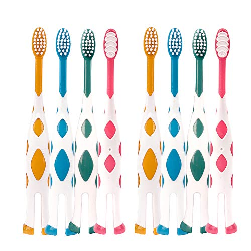 8 Packs Kids Toothbrush, Extra Soft Lovely Little Deer Toothbrush for Kids 2-8 Years (Pink&Orange&Blue&Green)