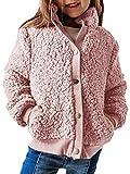 GAMISOTE Girls Sherpa Fleece Coat Button Up Winter Warm Chunky Fuzzy Kids Jackets Outwear