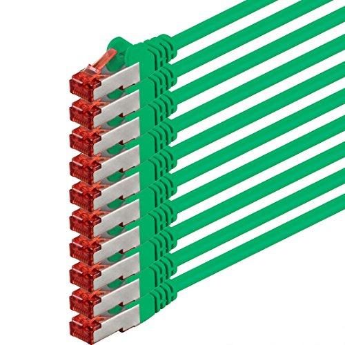 1m - verde - 10 pezzi - Cavo di Rete Cat6 Lan RJ45 1000Mbit s S-FTP CAT 6 PIMF Cavo Patch 1000Mbit s compatibile con Cat.5 Cat.6 Cat.7 Cat.8