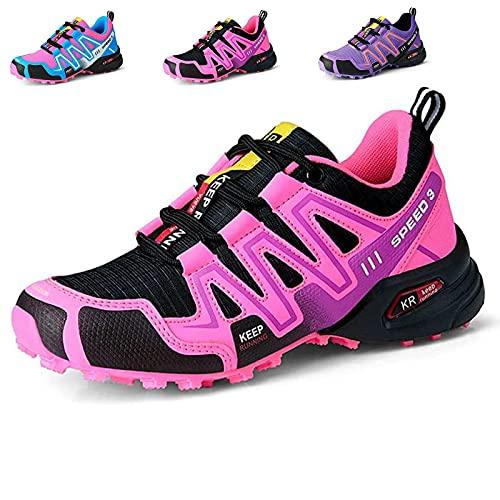 MIAOML Zapatillas Trekking para Mujer Zapatos De Senderismo Calzado De Montaña Escalada Aire Libre Impermeable Ligero Antideslizantes Zapatillas De Trail Running,Pink-41 EU