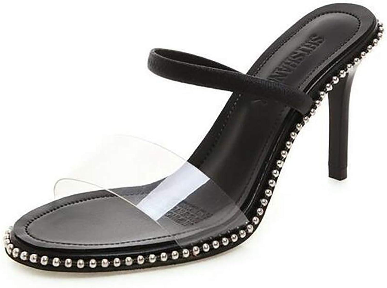 Summer Beach Women Slippers Transparent Crystal High Heels Sandals Fashion Casual Indoor Outdoor Flip Flops,9cmheel,34