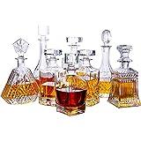 Glaskaraffe mit luftdichtem geometrischem Verschluss, für Whisky-Dekanter für Wein, Bourbon, Brandy, Likör, Saft, Wasser, Mundwasser, italienisches bleifreies Glas (750 ml)