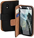 moex Handyhülle für LG Google Nexus 4 - Hülle mit Kartenfach, Geldfach & Ständer, Klapphülle, PU Leder Book Hülle & Schutzfolie - Schwarz
