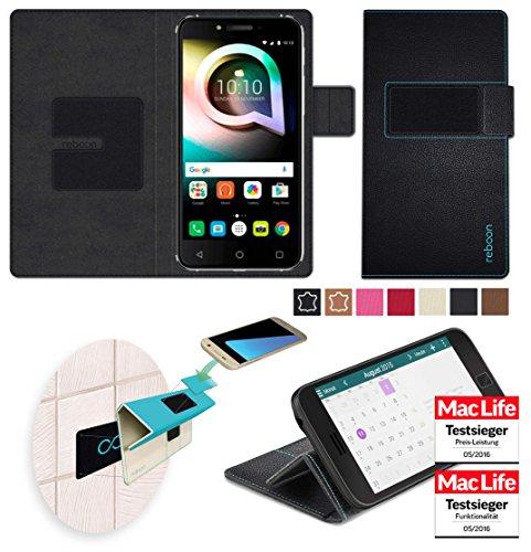 reboon Hülle für Alcatel Shine Lite Tasche Cover Case Bumper | Schwarz Leder | Testsieger