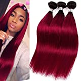 VIOLET HAIR Brazilian Ombre Straight Hair 3 Bundles 1B Burgundy Mix Length16 18 20inch 1B Red Two Tone Black to Burgundy Double Weft Human Hair Weave