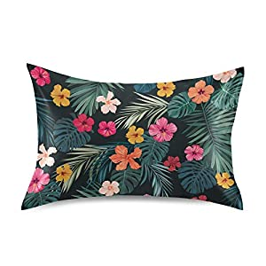Blueangle Bright Hibiscus Flowers Satin Pillowcase for Hair and Skin Silk Pillowcase, Standard Size(20×26 inches) – Slip Cooling Satin Pillow Covers with Envelope Closure