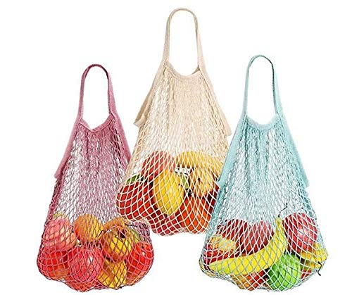Demarkt 3 bolsas de red para la compra reutilizables, malla de algodón, bolsa de la compra, portátil, organizador para compras, playa, frutas, verduras