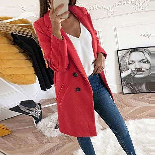 Silla de baño para mujer con cuello redondo sólido de manga larga con botones de manga larga casual para otoño invierno chaquetas con bolsillos CHFYG (color: rojo, tamaño: XXL)