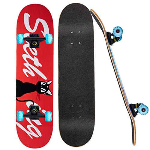 LYLSXY Skateboard para Principiantes, con Rodamientos de Bolas para Niñas Niños Adolescentes Adultos Rueda de Destello Cuando (Color : Black Cat)