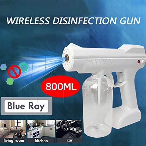 Wireless Nano Sprayer,Nano Sanitizing Blue Light Steam Gun Portable Handheld Automobile Smoke Disinfection Machine 800ML