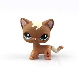 Littlest Pet Shop Toys Shorthair Kitten Cat LPS Rare Standing Cat Mask Short Hair (choose your cat) for Kids Gift (Brown, Green Eyes, White Ears) 1pc