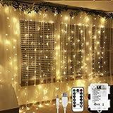LE Cortina Luces LED 3x3m 300 LED, USB o PILAS, Cadena de Luces Blanco cálido, 8 Modos Luz, Impermeable Interior y Exterior, Luz de Hadas Intensidad Regulable, Decoración de Fiestas, Navidad, Balcón