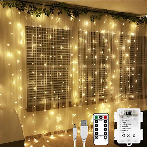 LE 3x3m 300 LED Cortina Luces LED Blanco cálido, USB o PILAS, 8 modos, Cadena de Luces Impermeable, Intensidad Regulable, Temporizador, Cortinas Luz Decoración de Casa, Fiestas, Navidad, Balcón, etc.
