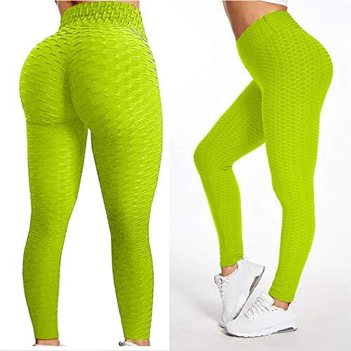 Leggings para Mujer Pantalones de Yoga de Cintura Alta para Mujer Pantalones Cortos de Botín Fruncidos para Mujer Scrunch Butt Lift Push Up Gym Yoga Running Sports Gym Fitness Leggings, 2 Unidades