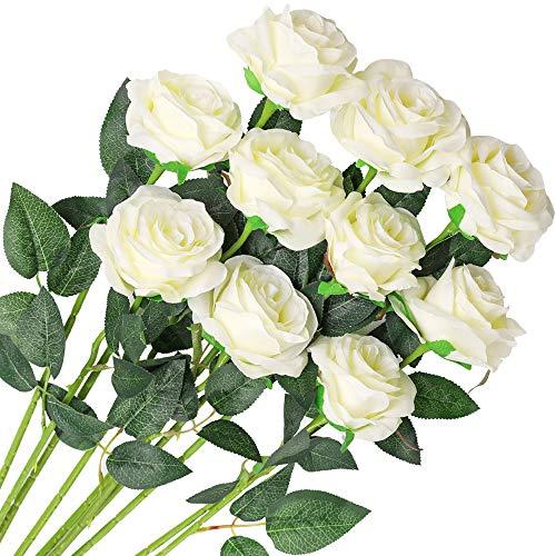 Veryhome 10 Stücke Künstliche Rosen Silk Blumen Gefälschte Flowers Braut Hochzeit Bouquet Für Hausgarten Geburtstag Party Home Wedding Dekor (Weiß - Blühende Rosen)