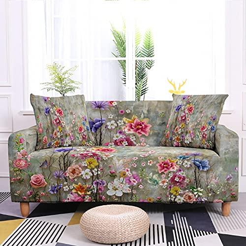 WXQY Funda de sofá elástica con Estampado de Flores en Forma de L Funda de sillón de Esquina en Forma de L Funda de sofá Antideslizante A4 1 Plaza