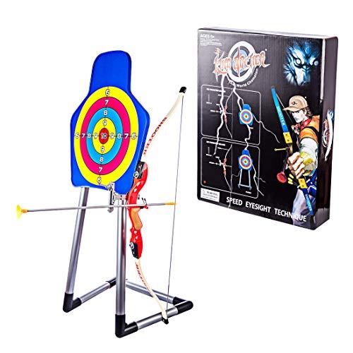 LDB SHOP Arco y Flechas para niños con 1 Arco, 3 Flechas, 1 Objetivo, 1 Dedil y 1 Carcaj 6 años y más