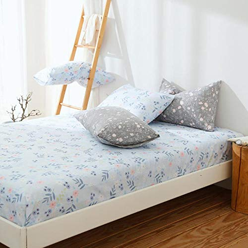 Cotton Elastic Fitted Sheet Home Bed Linen Nordic Style Mattress Cover Double Queen King Size Bedsheet 150x200 180x200cm New,Z,2 pcs pillowcase