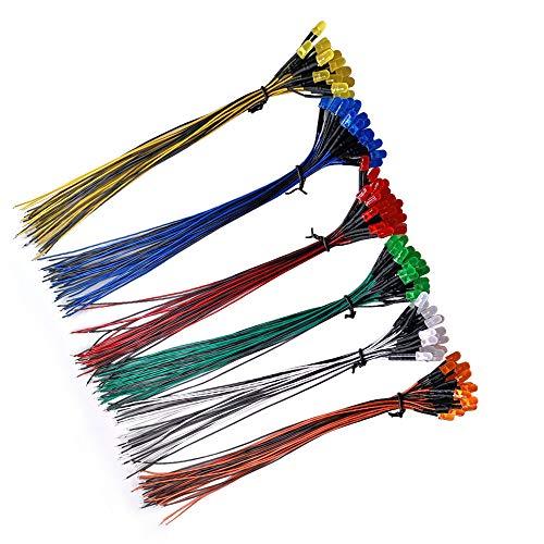 YIXISI 120 Stücke Vorverdrahtete LED, 12V 5mm Vorverdrahtetes Dioden Licht, Diffuse Emittierende Leuchtdiode Multi Farben Sortiert Licht, 20cm (Rot/Gelb/Grün/Blau/Weiß/Orange, Jeder 20 Stücke)