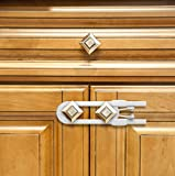 Child Proof Locks for Cabinet Doors, Adjustable U-Shaped, Door Latch 4 PCK White