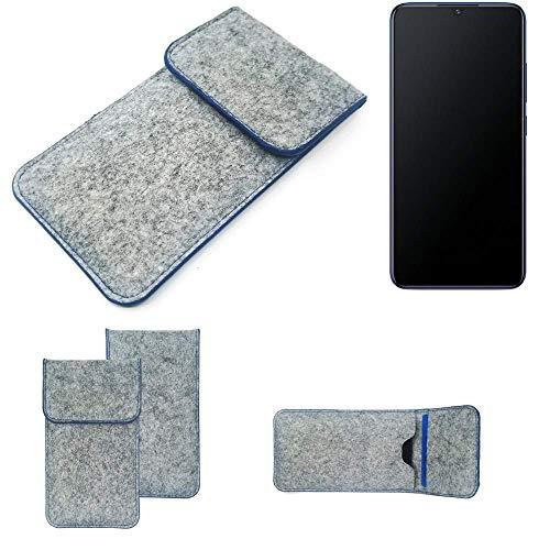 K-S-Trade Filz Schutz Hülle Für Vivo V11 Schutzhülle Filztasche Pouch Tasche Hülle Sleeve Handyhülle Filzhülle Hellgrau, Blauer Rand