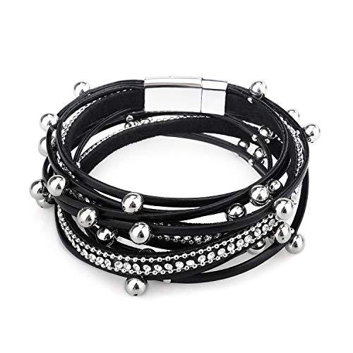Gleamart Beads Braccialetto di Cuoio a più Strati Wrap Braccialetto per Le Donne Nero