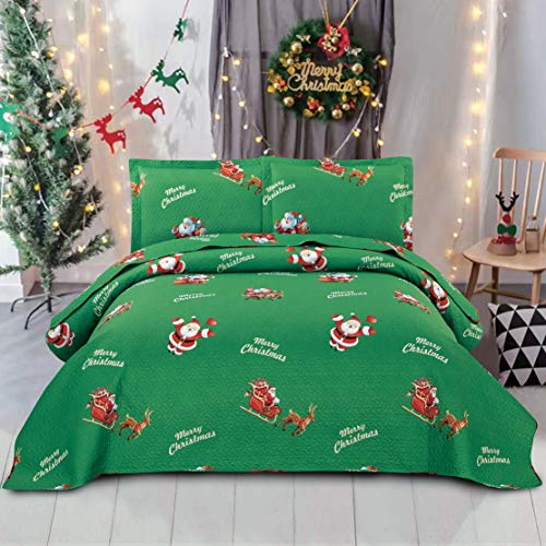 JARSON Lightweight Christmas Quilts Set Deer Snowflake Bedspreads Full/Queen Size,3Pcs Reversible Stripe Coverlet Sets Lantern Printed Bedding Pillow Shams New Year's Decoration