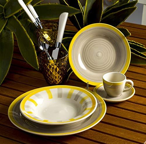 Evviva Service de 30 Assiettes en Porcelaine, Assiettes colorées pour 6 Personnes avec Tasses à café et Soucoupe, Tasse à café pour 6 Personnes, Porcelaine décorée à la Main.