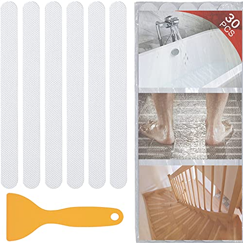 V-TOP 30 PCS Bathtub Non Slip Stickers, Safety Shower Non Slip Adhesive Strips Treads for Bathroom Floor Tub Stairs Ladders Pools Boats, Bathtub Appliques for Adults & Kids with Scraper