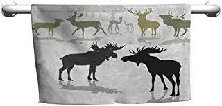 duommhome Antlers Beach Activity Bath Towel Elk Deer and Fawn Silhouette Forest at The Background World Natural Heritage Theme W14 x L14 Green Black