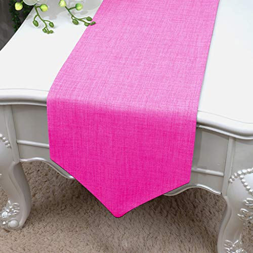 Essencea Faux Silk Table Runner V-End Seamless Solid Elegant Classic Table Top Decor- Ideal for Everyday Use | Party Decor | Wedding | Baby Shower | Special Occasions (13 x 72 Inches, Hot Pink)