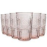 Bormioli Rocco Romantische Highball Gläser Set - Vintage italienische Cut Glas Cocktail Tumblers - 340ml - Rosa - 6er Pack