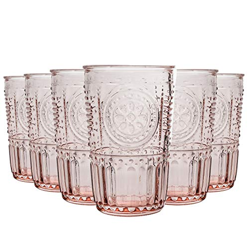 Bormioli Rocco Romantique Highball Verres Set - Cocktail Vintage Verre Cut Italien Gobelets - 340ml - Rose - Lot de 6