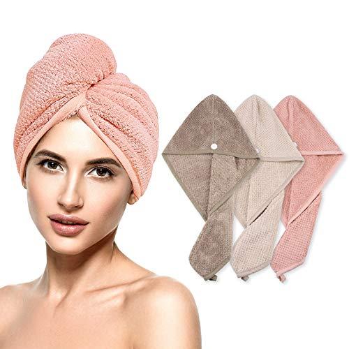 yotame Haarturban, 3 Stück Haarturban Handtuch Mikrofaser Knopf Haarturban Schnelltrocknend Turban Handtuch für Alle Haartypen