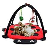 UxradG Cama de Mascota Gato Perro Móvil Actividad Divertido Juguete Cama Pad con Colgante Manta de Juguete Casa Campanas Tienda Suave Relleno