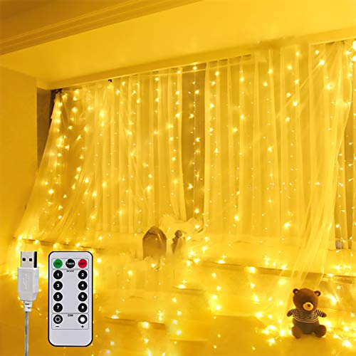 Cortina Luces USB, 3*3M Cortina de Luces LED 300 LED,Luces Decoración mit 8 Modos de Luz con Control Remoto, Decoración de Dormitorios, Fiesta, Boda, Navidad, Jardín