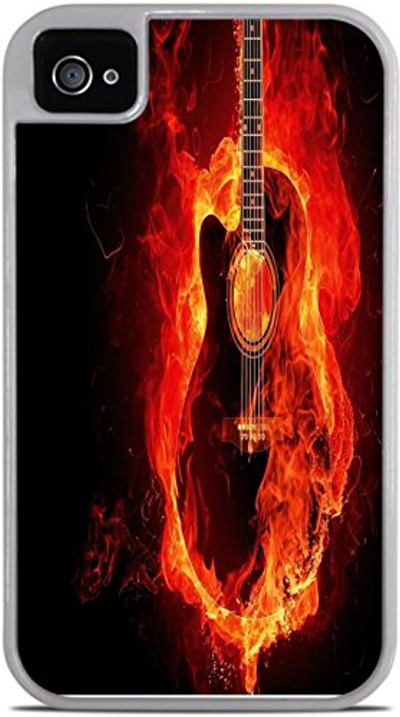 Guitar on Fire White 2-in-1 Protective Case with Silicone Insert for Apple iPhone 4 / 4S by Moonlight Printing yp18729836