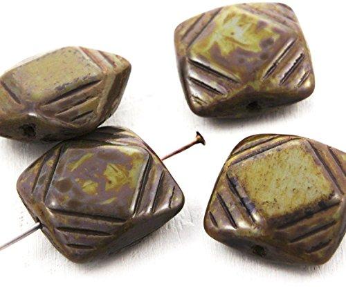 4pcs Picasso Brun Opaque Gris Gris Plat Sculpté Carré Focal Pendentif en Verre tchèque Perles de 15mm
