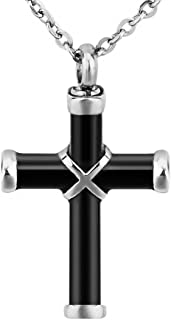 HooAMI Cremation Jewelry for Ashes Cross Urn Necklace Pendant Memorial Ash Jewelry
