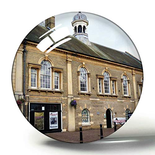 Hqiyaols Souvenir Reino Unido Inglaterra Thetford Dad'S Army Museum Imán de Nevera de Recuerdo 3D Imanes de Nevera de Cristal de círculo de Regalo de Viaje