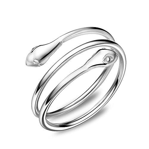 Loching Anello alla moda in argento sterling 925, oro rosa, argento, per donne e ragazze e Argento, regolabile, cod. C0151
