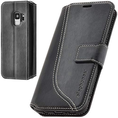 elephones Handyhülle für Samsung Galaxy S9 Hülle aus PU Leder Samsung Galaxy S9 Schutzhülle Flip Case Klapphülle Handytasche für Samsung S9 Grau
